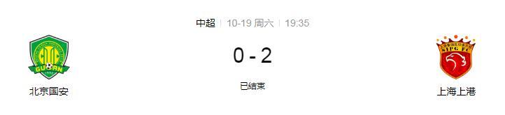 上海上港对阵北京国安  上港出色发挥积分排名第二有望冲击冠军