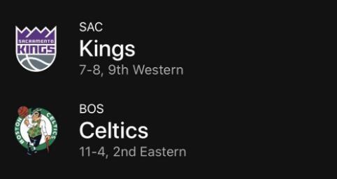 11月26日NBA常规赛 国王vs凯尔特人 录像